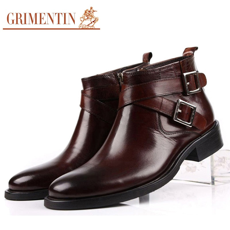 fd84cbe1fac0b GRIMENTIN men boots genuine leather double buckle black brown male ankle  boots shoes