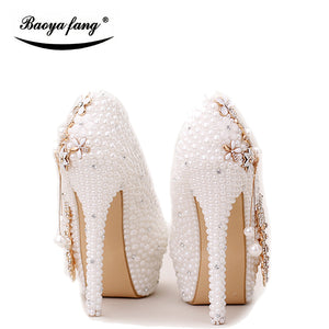 BaoYaFang  White pearl beads Womens wedding shoes Bride high woman party dress shoes