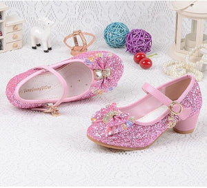 Children's Sequins Shoes Baby Girls Wedding Princess Kids High Heels Dress Party Shoes
