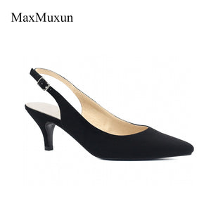 MaxMuxun Women High Heels Pointed Toe Classic Slingback