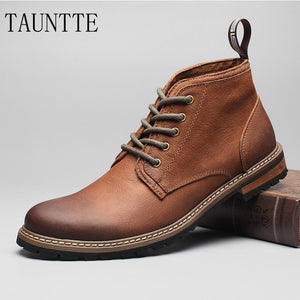 Tauntte Winter Retro Full Grain Leather Ankle Boots