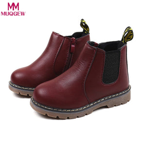 Children Martin Boots PU Leather Waterproof Kids