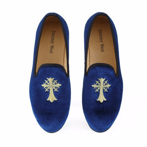 New Handmade Men Blue Velvet Dress Formal Shoes
