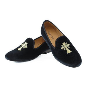 New Handmade Men Velvet Loafers Prom Shoes Embroidery Men Party Dress Shoes