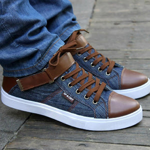 Hot 2018 Men Denim Casual Shoes Autumn Winter Male Lace-Up