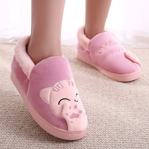 Cartoon Cat 3D Claw Fluffy Women Slippers  Patchwork Thicken Anti Slip Warm Slippers