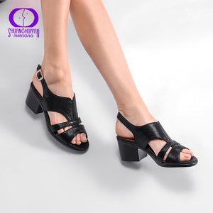 AIMEIGAO High Quality Peep Toe Sandals Women Square Med Heels Sandals