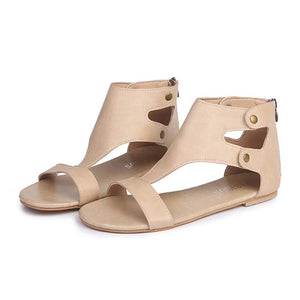 Fashion Rivet Gladiator Sandals Women Summer Flat Leather Shoes