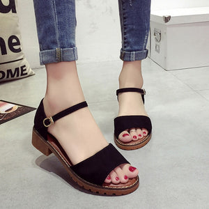 CPI Summer Floral Sandals Fish Mouth Women Sandals Pu Suede Retro High Heels