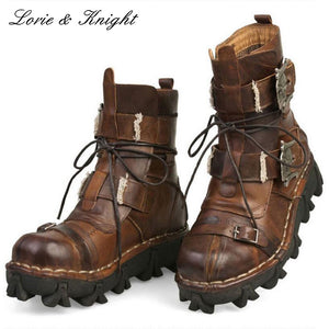 Men's Cowhide Genuine Leather Work Boots Military Combat Boots