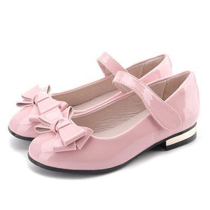 Patent Leather Fashion Bow Low-heeled Children Shoes Girls Party Wedding Dress