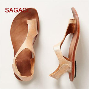 2018 SAGACE Women Summer Casual Ankle Strap Roman Flat Clip Toe Shoes Flat Sandals