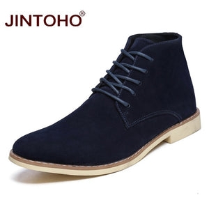 JINTOHO 2018 New Mens Winter Shoes Fashion Men Pig Suede Boots Pointed