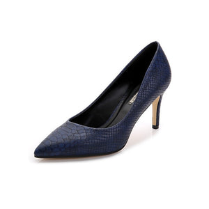 Women Shoes High Heels leather dress pumps shoe Ladies Pointed Toe Elegant Work Blue Pumps Genuine