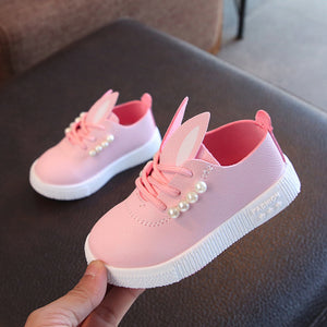 Children toddler girls cute pearl rabbit ear casual shoes for little girls kids sneakers