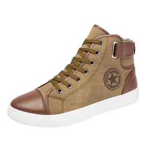 YOUYEDIAN Fashion High Top Men Shoes Canvas Men Casual Shoes