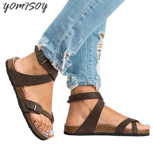 2018 Fashion Cork Sandals New Women Casual Summer Beach Gladiator Buckle Strap Sandals Shoe Flat