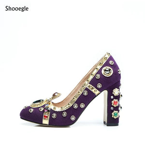 Shooegle 2018 New Brand Designer Shoes Runway Royal Style Jewelry pumps
