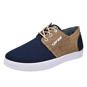 Men Casual Shoes Breathable Flat Shoes Student Canvas Shoes