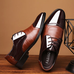 Men Patent Leather Dress Shoes Modern Classic Lace Up Leather