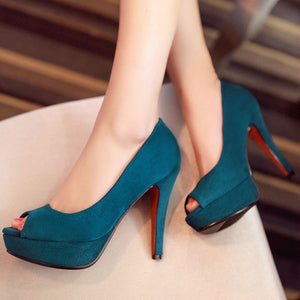 Lsewilly Party Dress Shoes Woman Peep Toe Platform High Heels Pumps