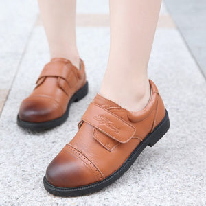 Kids Cow Leather Shoes Spring Autumn Students Black Brown Genuine Leather Shoe