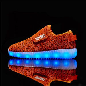 New USB Charging LED Children Lighting Shoes With Light Up baby Boys Kids Glowing illuminated