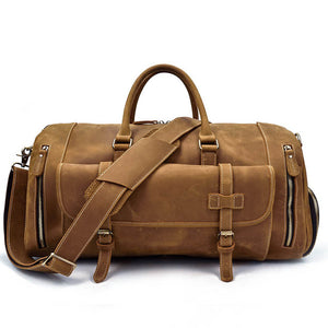 "Men Genuine Leather Travel Duffel Bag With Shoe Pocket 20"" Real Leather Weekend Bag"