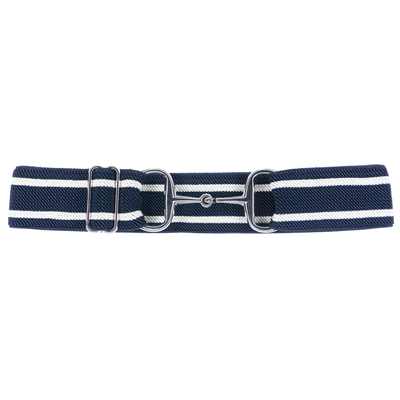 ELLANY BELTS - NAVY & WHITE STRIPES 1.5'' SILVER SNAFFLE