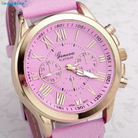 Fashion Roman Numerals Faux Leather Analog Quartz Wrist Women's Watch