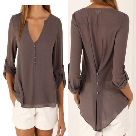 Women long sleeve chiffon blouse