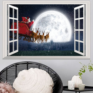 Christmas 3D Wall Stickers Window View Santa Claus