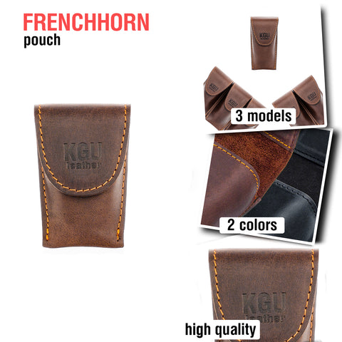 Frenchhorn Mouthpiece POUCH (3 models). Crazy Horse Leather.