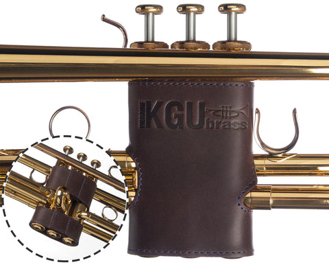 Trumpet VALVE GUARD. Crazy Horse Leather.