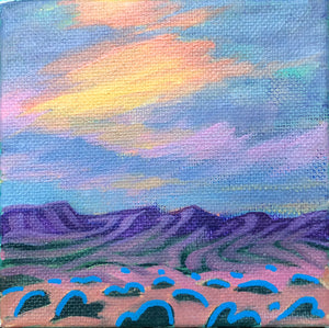 Purple Mountain Fire Sky 4x4 Painting