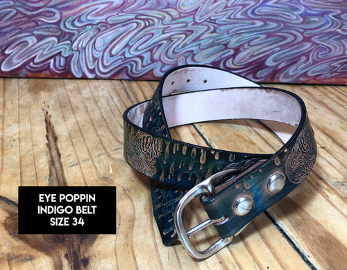 Stamped Leather Belt (Size 34)
