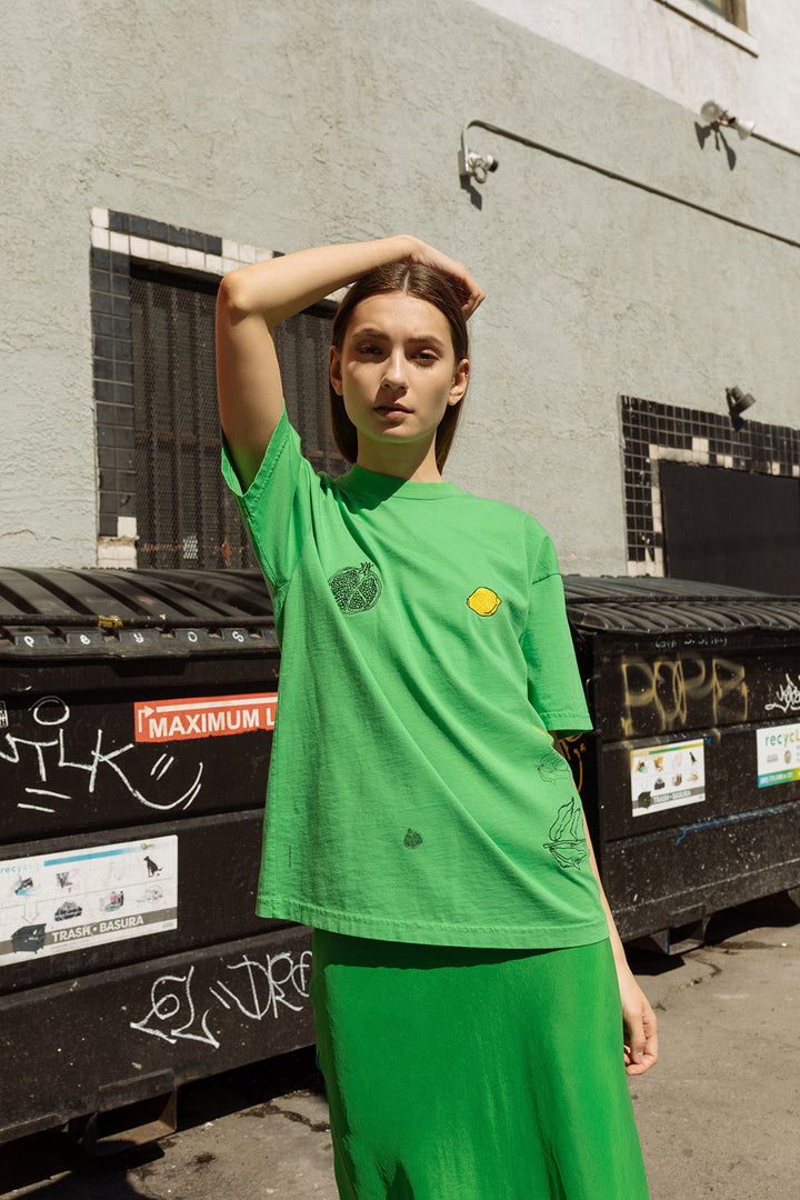 Oversized Forage Mock Neck Tee in Lime