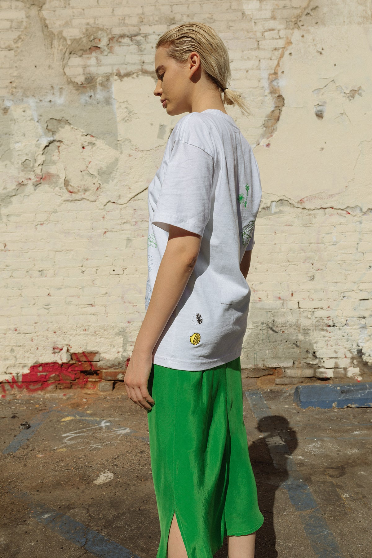 Oversized Forage Mock Neck Tee in White