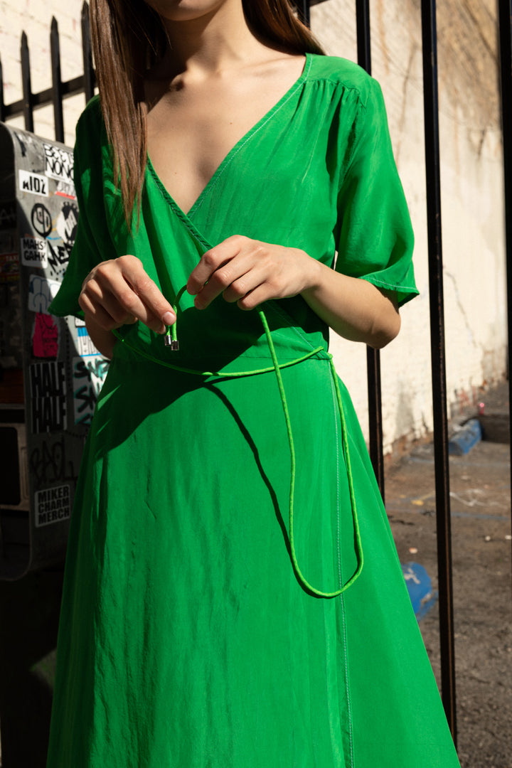 Wrap Dress in Lime
