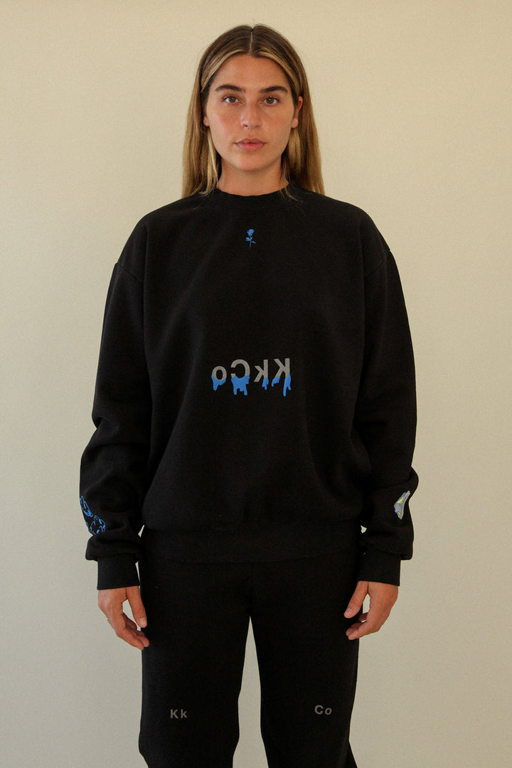 Drip Crewneck Sweatshirt in Black