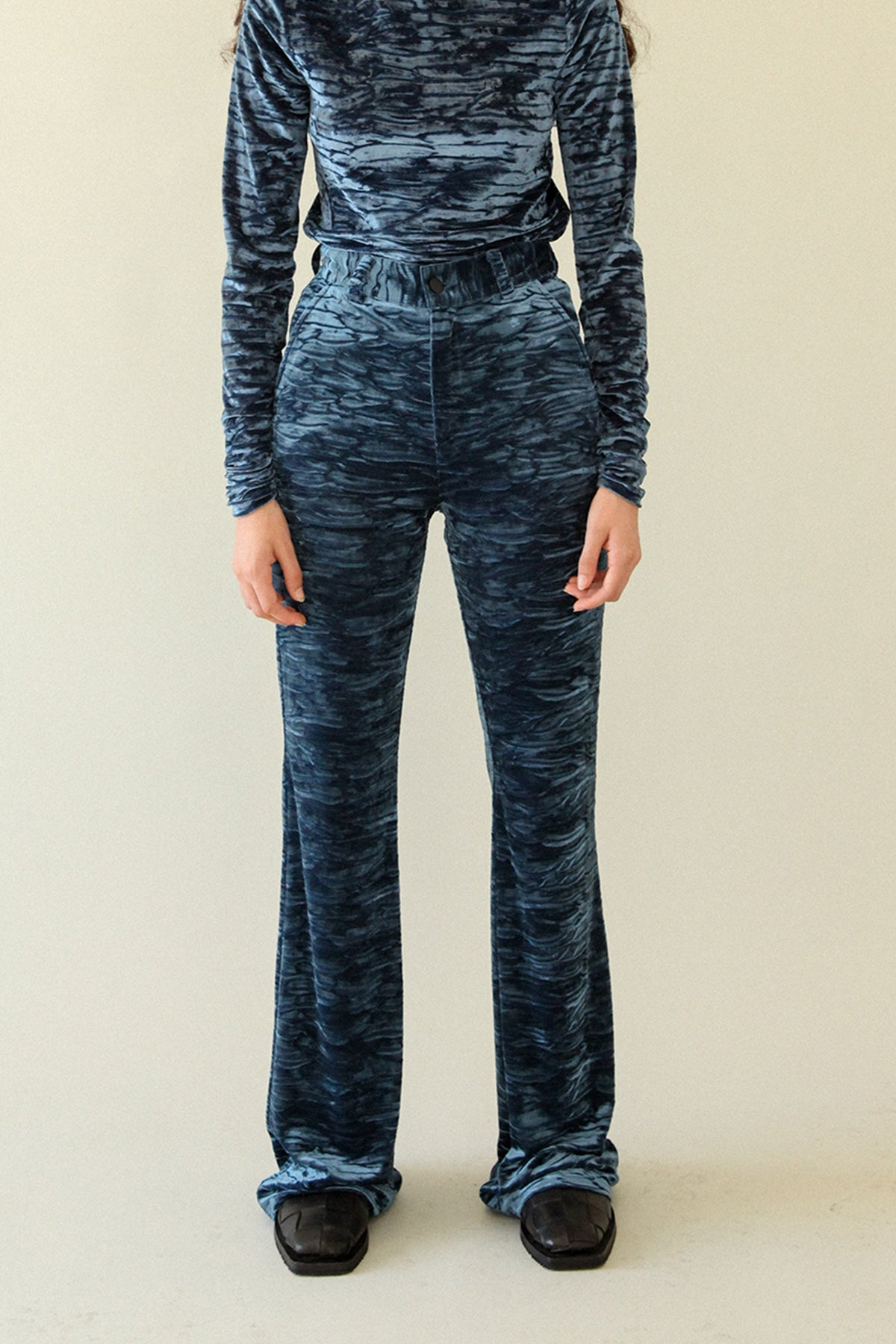 Crushed Velvet Flare Pant in Sapphire