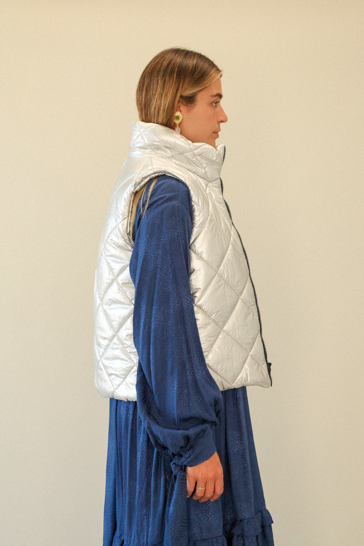 Quilted Puff Vest in Foil