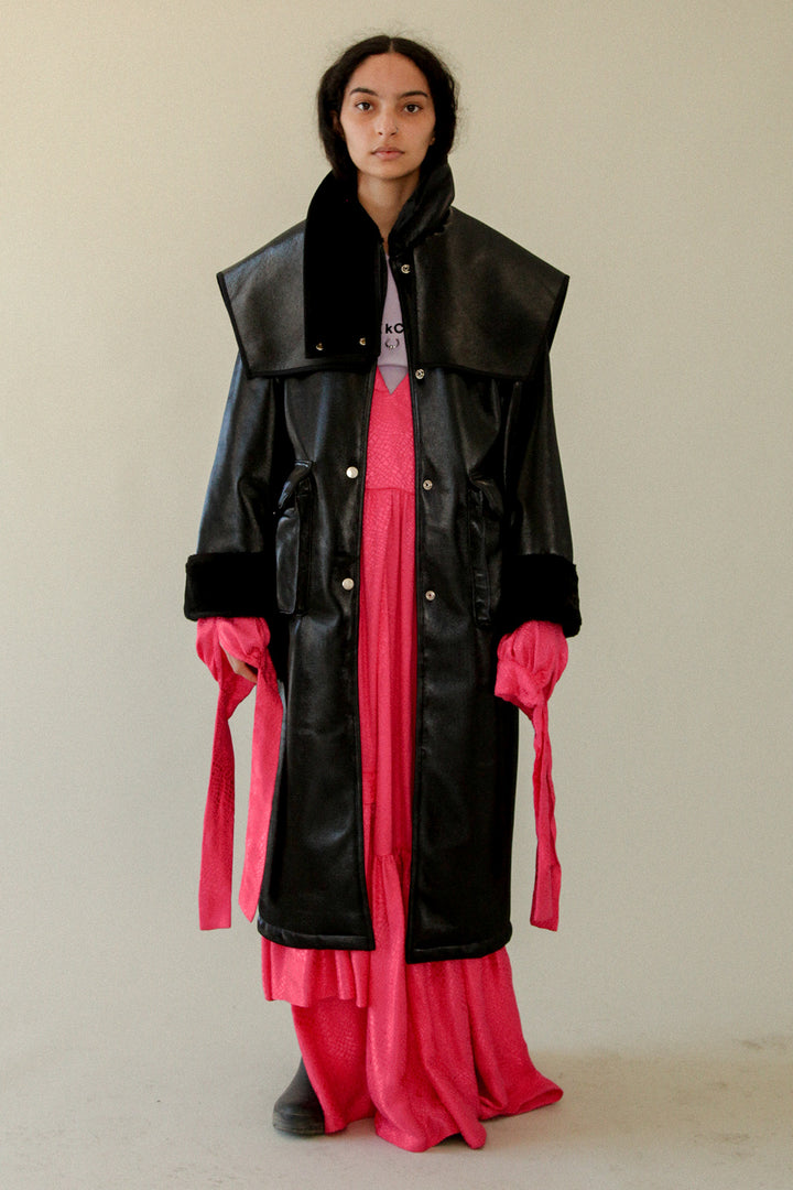 PVC Coated Faux Fur Coat