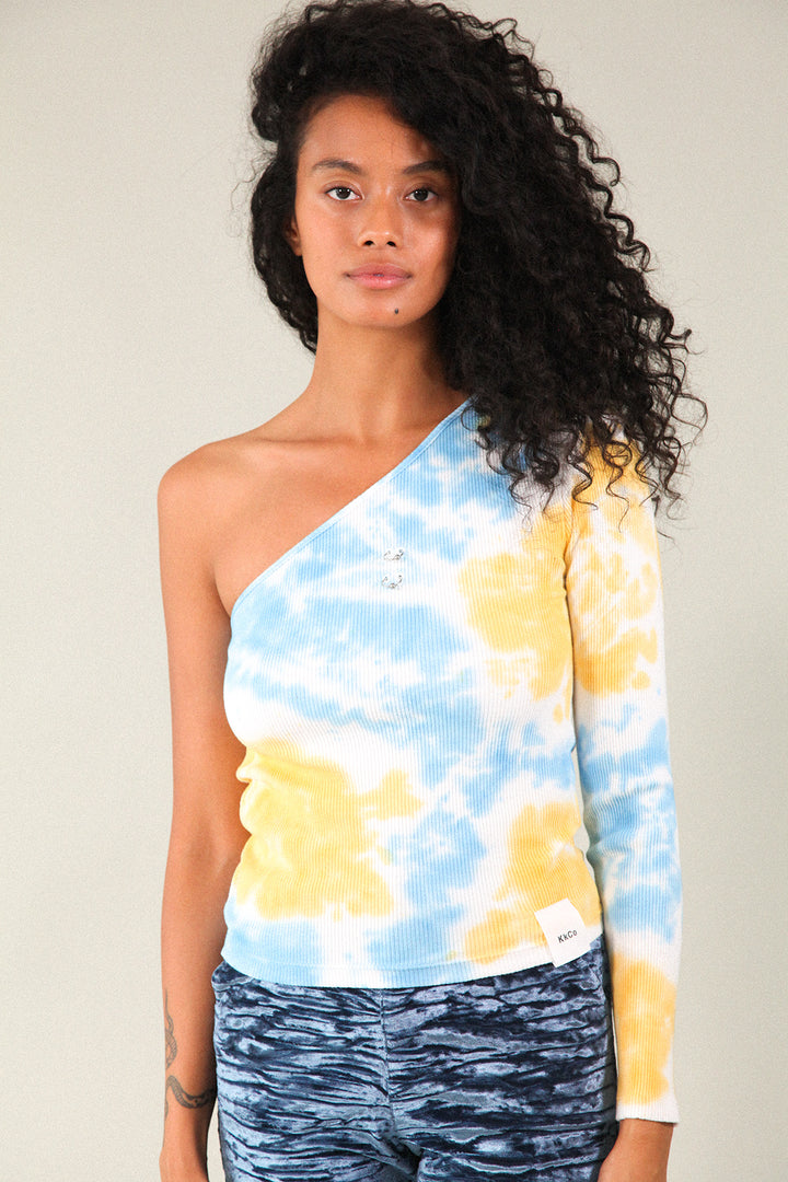 Pierced Reversible Asymmetrical Long Sleeve Rib in Cloud Tie-Dye