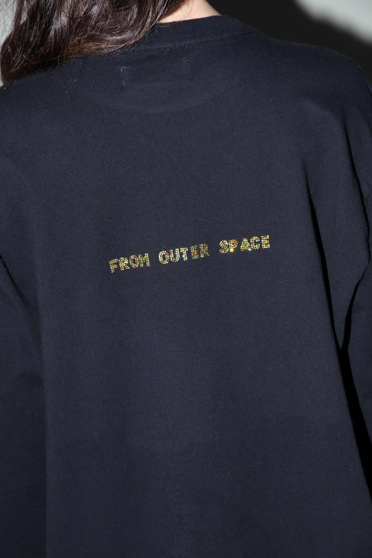 Rhinestone 'From Outer Space' Tee in Black