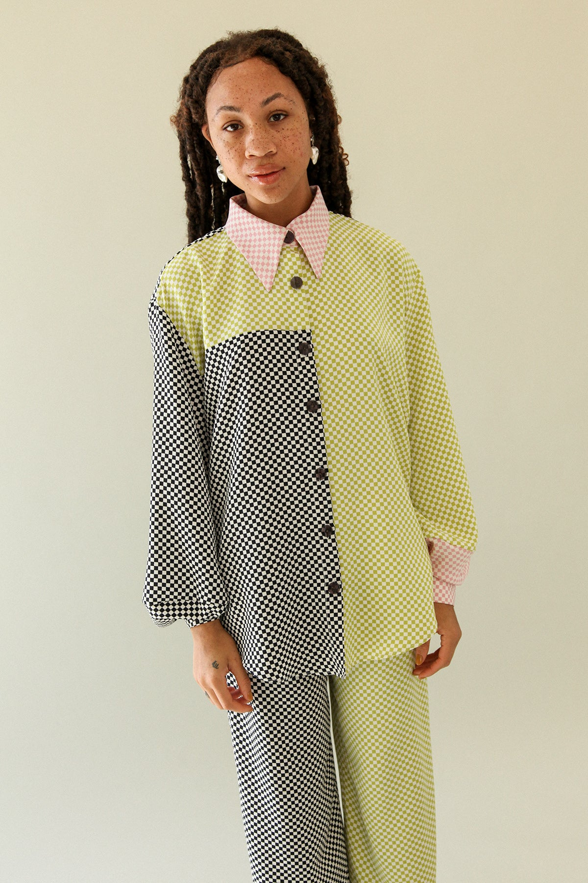 Lounge Shirt in Mixed Checker