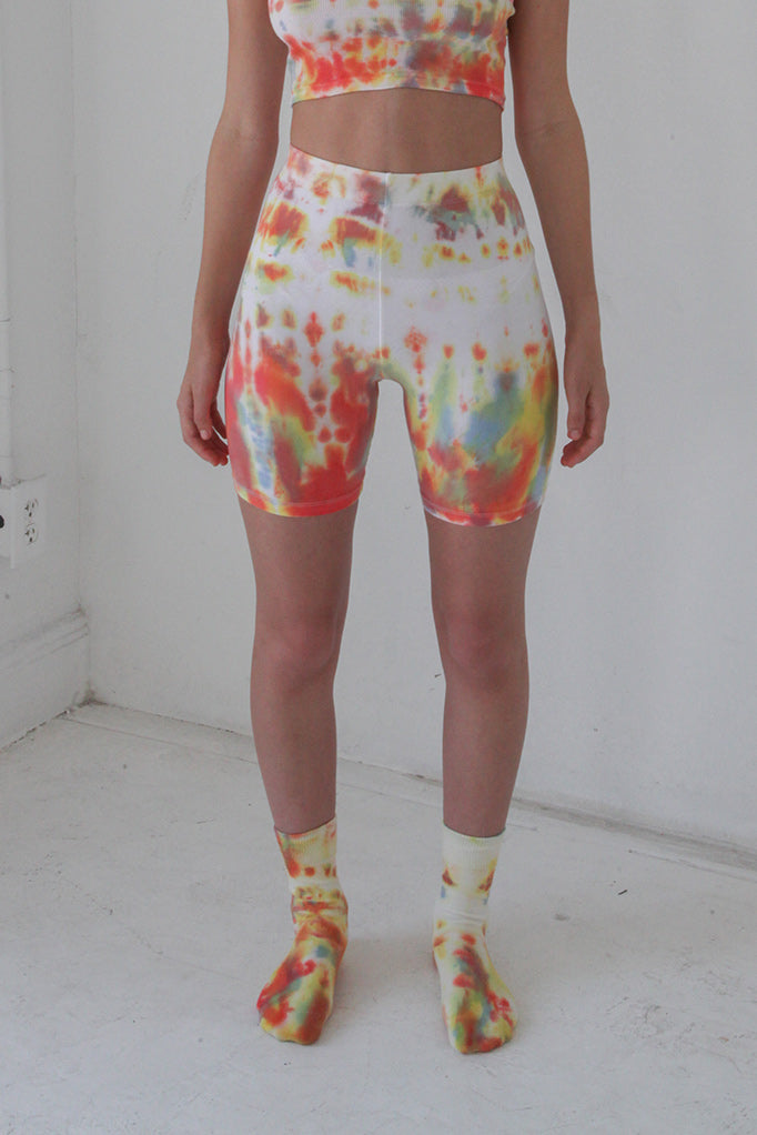 Cycle Short in Lichen Tie-Dye