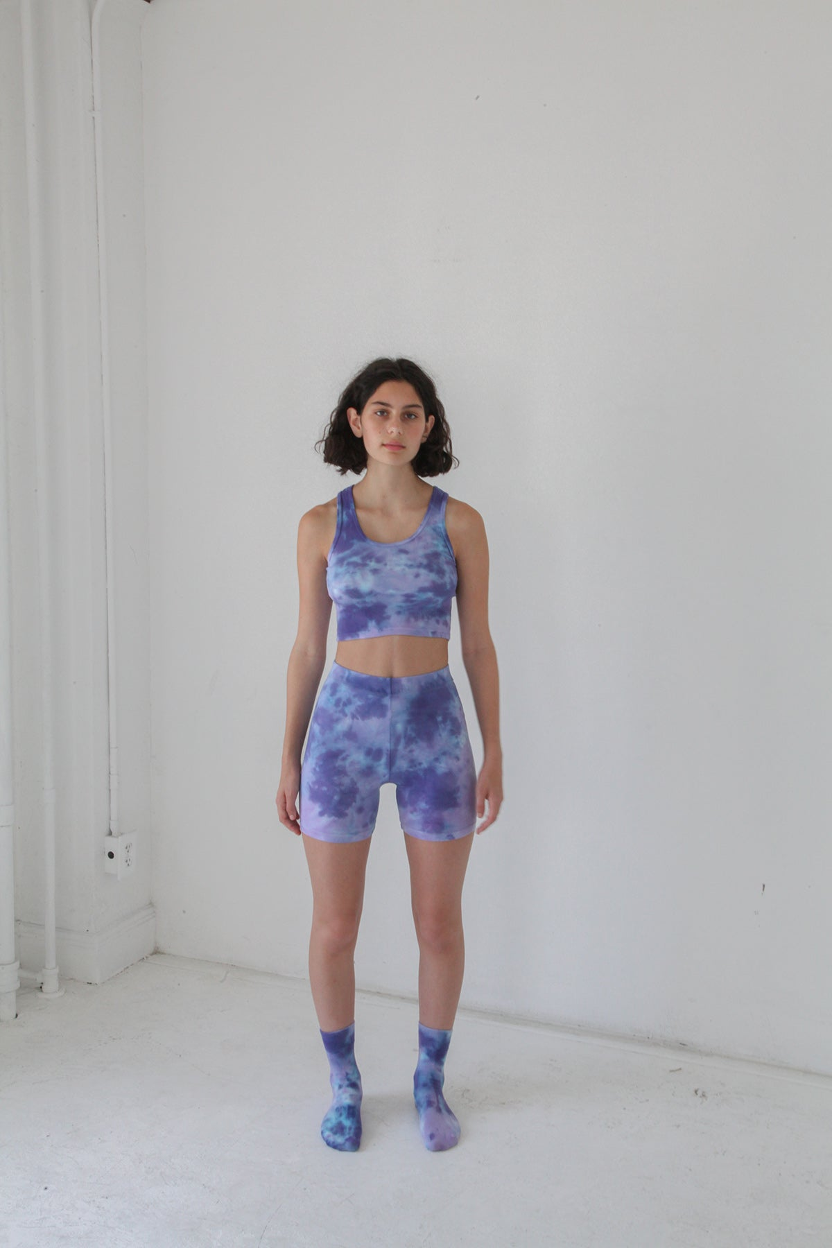 Cycle Short in Grape Tie-Dye