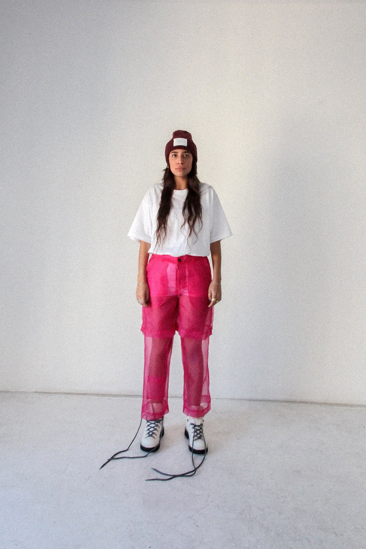 Layered Pant in Fuchsia Organza