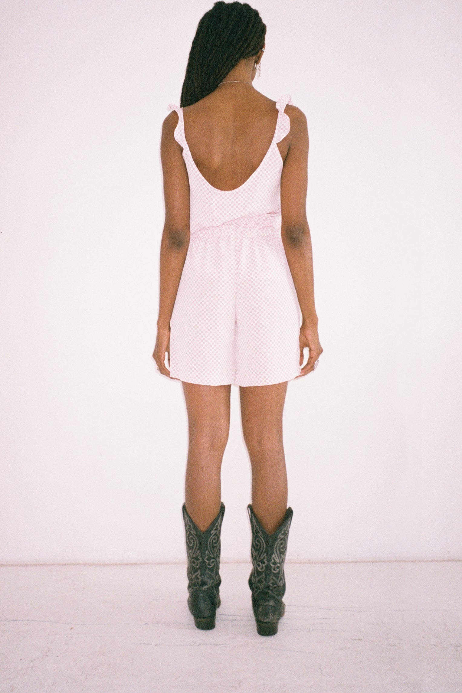 Tidal Short in Pink & White Checker